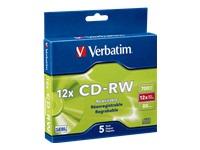 Verbatim 5Pk Cdrw 700Mb 80Min 4X 12X W/ Slim Jc