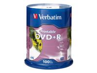 Verbatim 100Pk Dvd+R 4.7Gb 16X Wht Inkjet Printabl