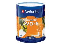 Verbatim Dvd-R 4.7Gb 16X White Inkjet Print 100Pk