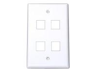 Startech 4 Outlet Universal Wallplate-White