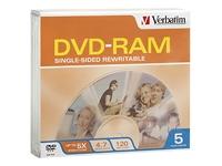 Verbatim 5Pk Dvd-Ram 4.7Gb 5X W/ Slim Jc